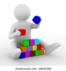 child plays cubes on white. Isolated 3D image