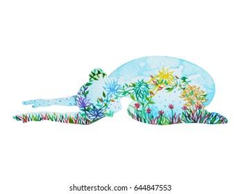 child pose yoga, 7 color chakra watercolor flower floral pattern painting hand drawn illustration design (Balasana)
