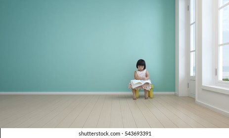 Child reading book in kids room of modern beach house - 3d rendering
