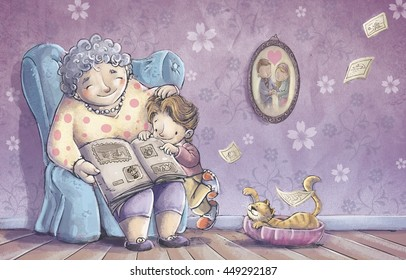child reading with her grandmother