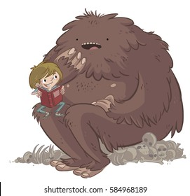 Child reading with a monster