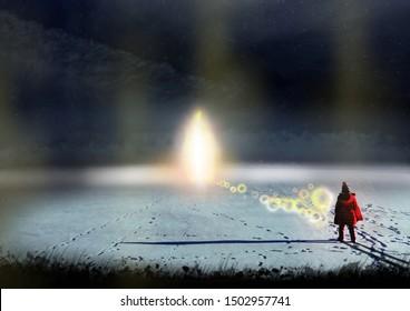 a child in a red jacket walks towards a glowing light on a frozen lake. Fantasy concept artwork. Original digital illustration.