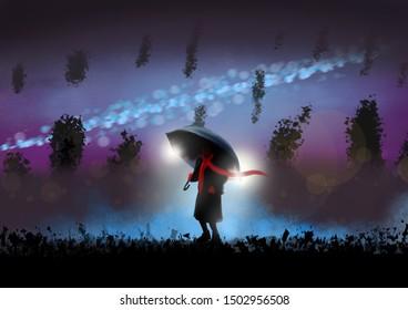 A child with a red scarve and umbrella walks in a strange land.  Fantasy concept artwork. Original digital illustration.
