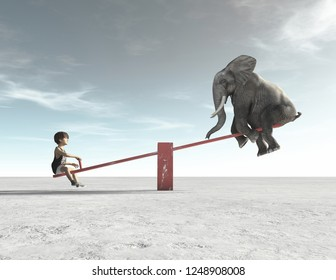 A child is in a rocking chair with an elephant. This is a 3d render illustration.