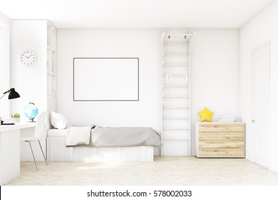 Child room with a bed with gray bedspread, a square window, a table and a bookcase. There is a ladder with rings in the corner. 3d rendering. Mock up.