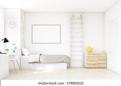 Chambre enfant avec un lit au dessus de lit gris, une fenêtre carrée, une table et une bibliothèque. Il y a une échelle avec des anneaux dans le coin. Rendu 3d. Mock up.