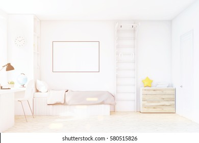 Child room with a bed with gray bedspread, a square window, a table and a bookcase. There is a ladder with rings in the corner. 3d rendering. Mock up. Toned image.