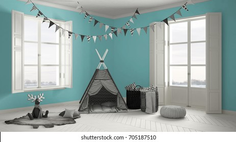 Child room with furniture, carpet and tent, two panoramic windows, scandinavian white and turquoise interior design, 3d illustration