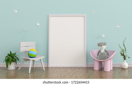 child room interior with frame for mockup, 3d rendering