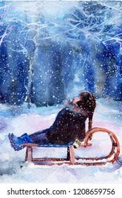child sledding. boy. winter snowfall. evening. watercolor