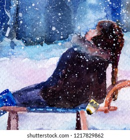 child sledding. boy. winter snowfall. evening. watercolor