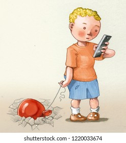 child with smartphon his toy balloon heavy as the lead allegory of the damages of the digital for children conceptual pencil draw