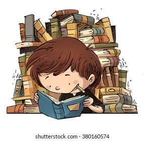 child studying surrounded by books