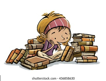 child surrounded by books