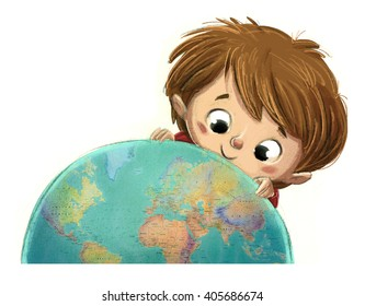 child with terrestrial globe