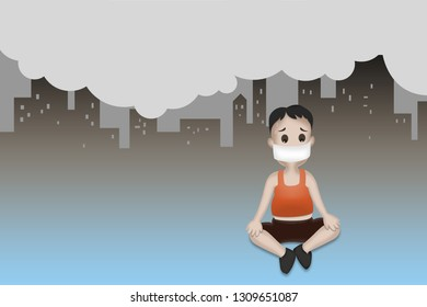 Child wearing mask filter pollution levels of particles matter smaller than 2.5 microns (PM2.5).