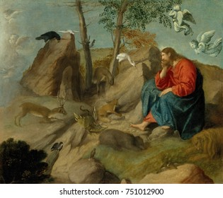 CHILD IN THE WILDERNESS, by Moretto da Brescia, 1515_20, Italian Renaissance oil painting. Following his baptism by John the Baptist, Christ mediated in the wilderness for forty days. According to the