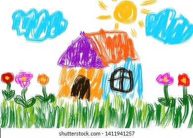 childen drawn house, grass, colorful flowers Cloud and sun.