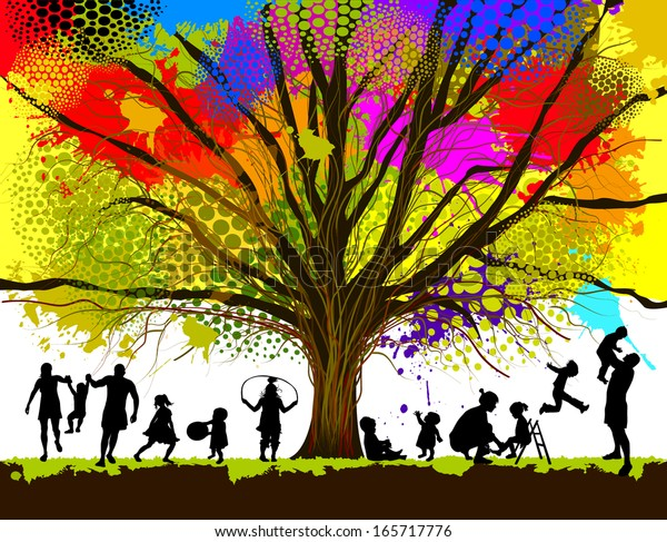 childhood. colorful tree . Raster