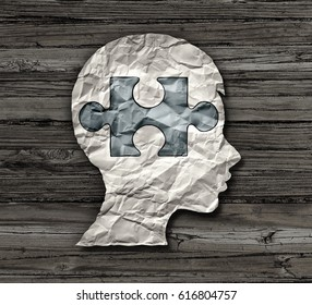 Childhood education or mental disorder in the brain of a child as epilepsy add or adhd or autism symbol as a crumpled paper with a puzzle piece shaped as the head of a kid in a 3D illustration style.