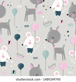 A childish and colorful pattern with cute deer and mice. Great background for fabrics and textiles