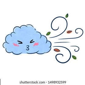 Childish illustration of blowing cloud. Wind, blizzard, hurricane. Weather, climate, meteorology, weather forecast concept. Colorful illustration
