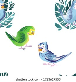 Childish pattern with cute cartoon little parrots. Creative kids texture for fabric, wrapping, textile, wallpaper, apparel. Hand drawn illustration