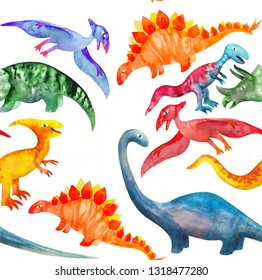 Childish seamless pattern with hand drawn watercolor dino. Creative childish background for fabric, textile