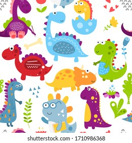 Childish seamless pattern with hand drawn dinosaurs in cartoon style. Illustration. Kids illustration for nursery design. Dino great for baby clothes, wrapping paper.