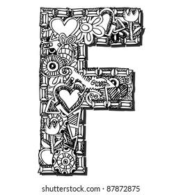 childlike doodle ABC, crazy letter F isolated on white background