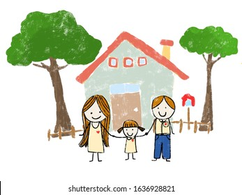 Childlike drawing happy family.  Mother, father, and daughter. Family house.