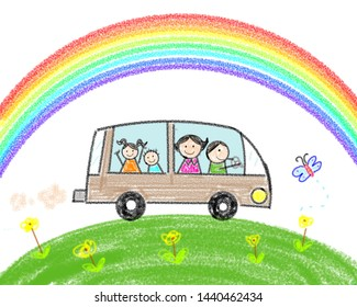 childlike drawing happy family travel by car