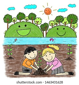 Childlike drawing kids planting tree with wax crayon. children plant tree. save the world.