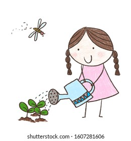Childlike drawing little girl watering a plant.