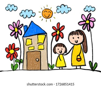 Childlike drawing mother, daughter, sun, house, cloud and flowers.