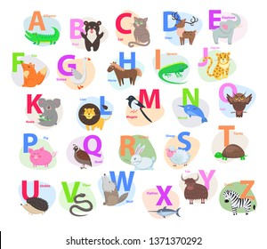 Children abc with cute animals cartoon raster. english letters a to z set funny isolated flat illustrations. zoo alphabet mammal bird pet for preschool education kids books