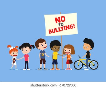 Children against bullying. Group of diverse kids holding banner on a blue background. Cute cartoon illustration