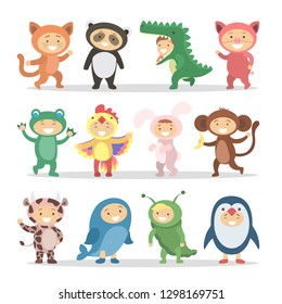 Children in animal costumes set. Funny cartoon cute babies.