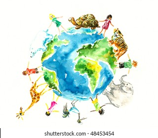 Children and animals around the earth.Picture I have created myself with watercolors.