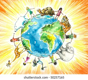 Children and animals around the earth.Picture I have created myself with watercolors and colored pencils.