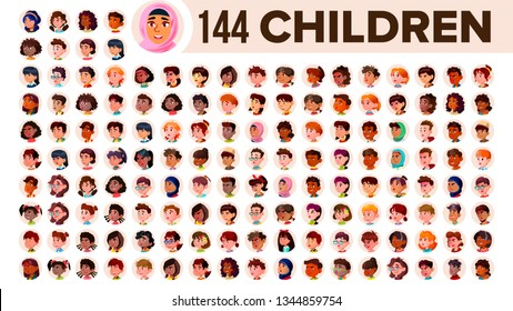 Children Avatar Set . Child Girl, Guy. Multi Racial. Face Emotions. Multinational User People Portrait. Male, Female. Ethnic. Icon Asian African European Arab Illustration
