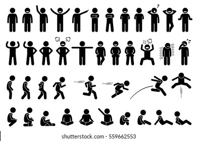 Children basic poses, actions, postures, feelings, and emotions. The kid is happy, angry, sad, and crying. Side views include walking, running, jumping, and sitting.