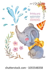 Children birthday party. Watercolor isolated elements. Elephant