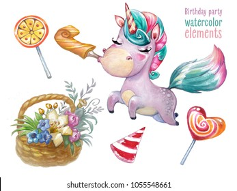 Children birthday party. Watercolor isolated elements. Unicorn