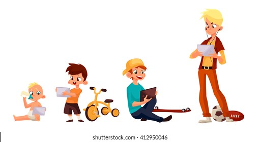 Children boy of different ages played in tablet and did not play in street, cartoon concept of todays children, the children sit and chat on the Internet, four boy looking at smartphone