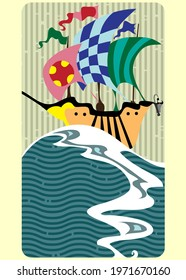 children card with dream ships, historical design