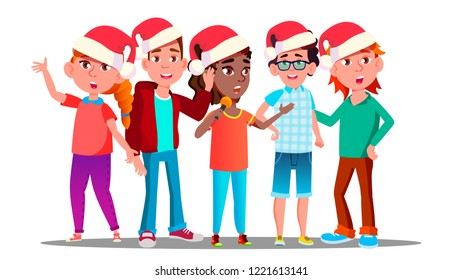 Children In Christmas Caps Singing Carol. Isolated Illustration
