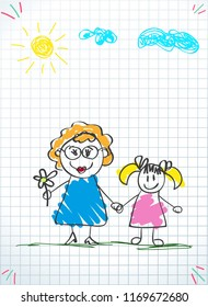 Children colorful pencil drawings. illustration of grandmom and granddaughter holding hands on squared notebook sheet background. Kids doodle drawings of girl and woman together.