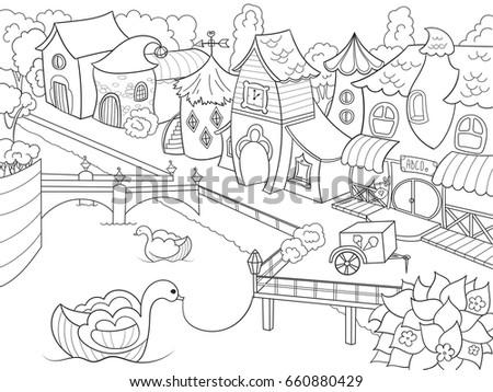 Children Coloring Raster Fairy City River Zentangle Stock