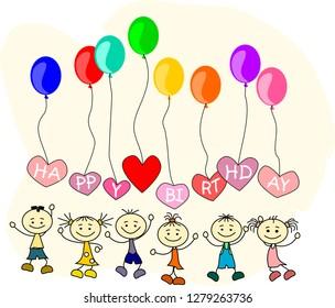Children congratulations to birthday